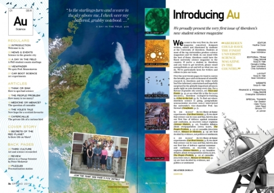 Layout and illustration for Au Science Magazine, University of Aberdeen (2011)